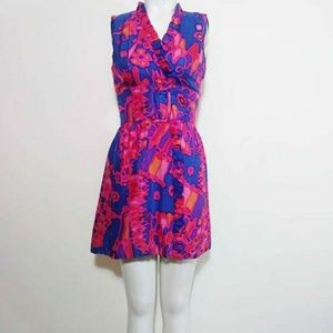 60s psychedelic mod mini hand dyed dress Vintage